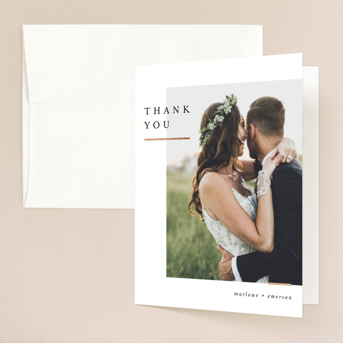 """""""Clean and Modern"""" - Foil-pressed Folded Thank You Card in Champagne by Kelly Schmidt."""