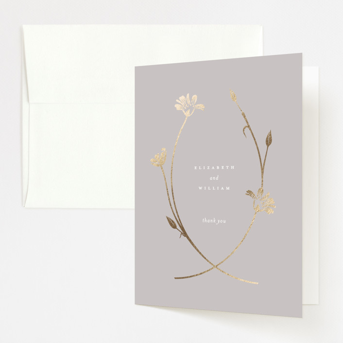 """""""Circlet"""" - Foil-pressed Folded Thank You Card in Dove by kelli hall."""