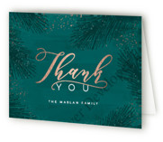 This is a green wedding thank you card by Hooray Creative called Elegant Evergreen with foil-pressed printing on strathmore in standard.