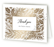 This is a black wedding thank you card by Alethea and Ruth called Foliage Bold Frame with foil-pressed printing on strathmore in standard.