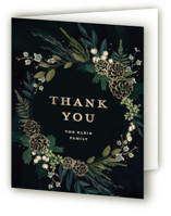 This is a black wedding thank you card by Susan Moyal called Winter Sprigs with foil-pressed printing on strathmore in standard.