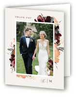 This is a brown wedding thank you card by Leah Bisch called harvest with foil-pressed printing on strathmore in standard.