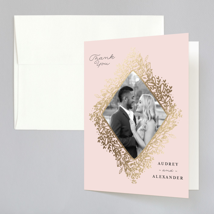 """Gem"" - Rustic Foil-pressed Folded Thank You Card in Blush by lena barakat."