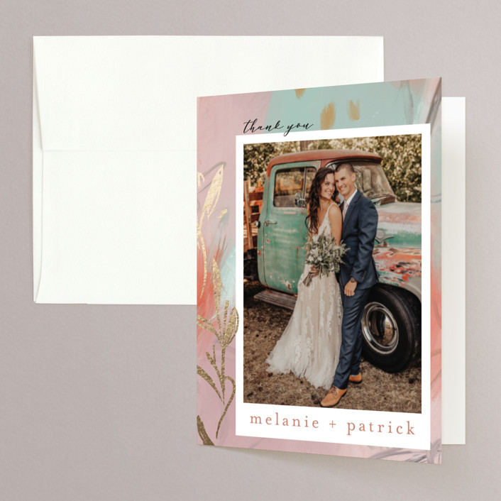"""""""Impressions"""" - Foil-pressed Folded Thank You Card in Peachy by Lindsay Megahed."""