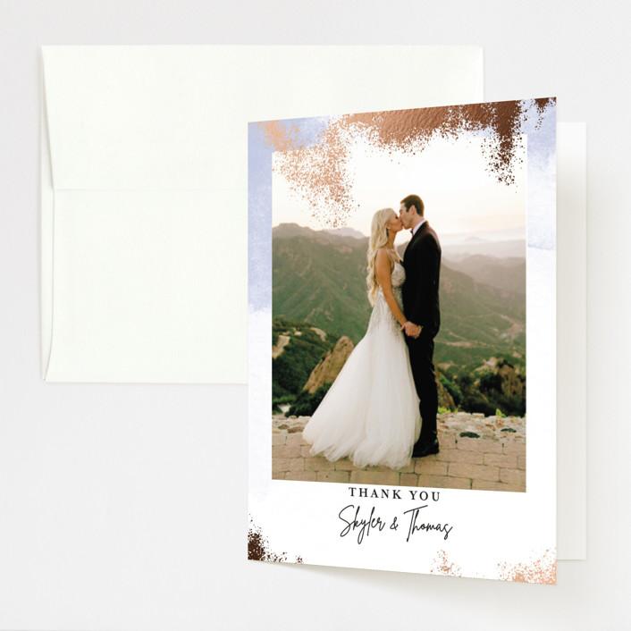 """Gilded Beauty"" - Foil-pressed Folded Thank You Card in Beach by Jen Merli."