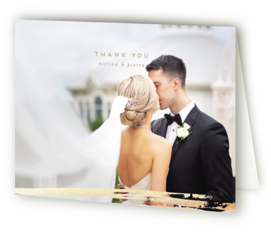 This is a landscape painterly, brown Wedding Thank You Cards by Grae Sales called Sparkles with Foil Pressed printing on Standard Cover in minibook fold over (blank inside) format. This design features layers of watercolor strokes lined by delicate lines ...