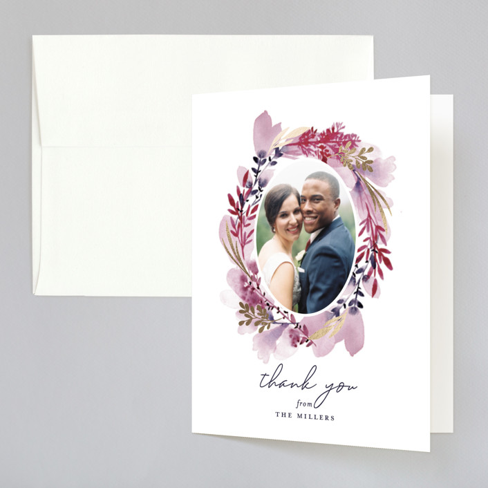 """""""Lush Wreath"""" - Rustic Foil-pressed Folded Thank You Card in Lavender by Olivia Raufman."""