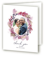 This is a purple wedding thank you card by Olivia Raufman called Lush Wreath with foil-pressed printing on strathmore in standard.