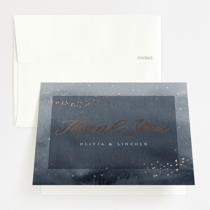 """enchanting winter"" - Foil-pressed Folded Thank You Card in Midnight by Kate Ahn."