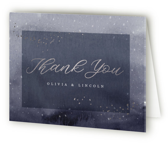 This is a portrait painterly, blue Wedding Thank You Cards by Kate Ahn called enchanting winter with Foil Pressed printing on Standard Cover in minibook fold over (blank inside) format. A hand painted watercolor background full of texture is layered ...
