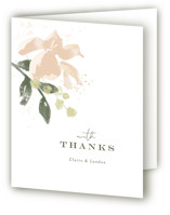This is a pink wedding thank you card by Jennifer Wick called Greenwich with foil-pressed printing on strathmore in standard.
