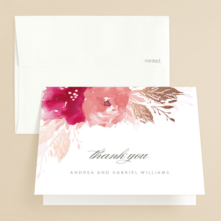 """""""painted bouquet"""" - Foil-pressed Folded Thank You Card in Rose by Karidy Walker."""