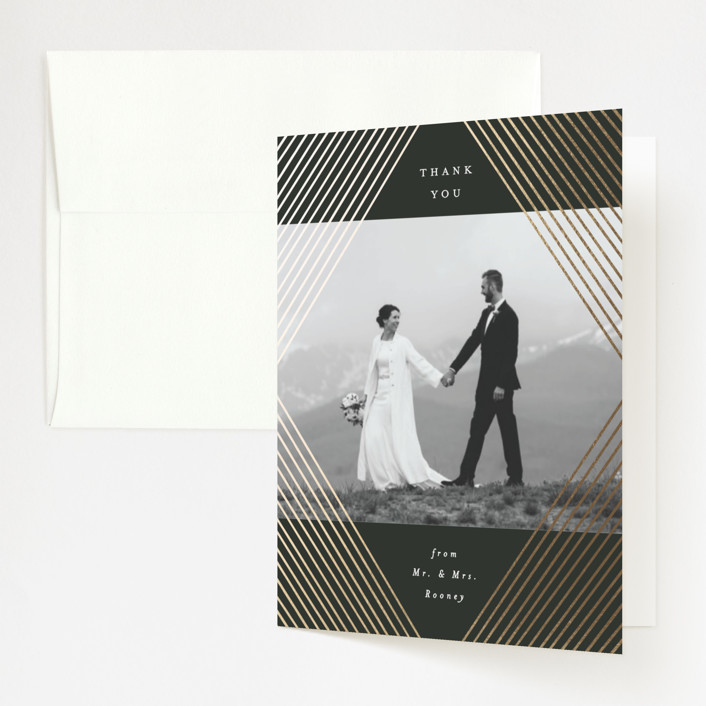 """""""Diamond Criss Cross"""" - Vintage Foil-pressed Folded Thank You Card in Midnight by Alethea and Ruth."""