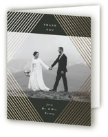 This is a black wedding thank you card by Alethea and Ruth called Diamond Criss Cross with foil-pressed printing on strathmore in standard.