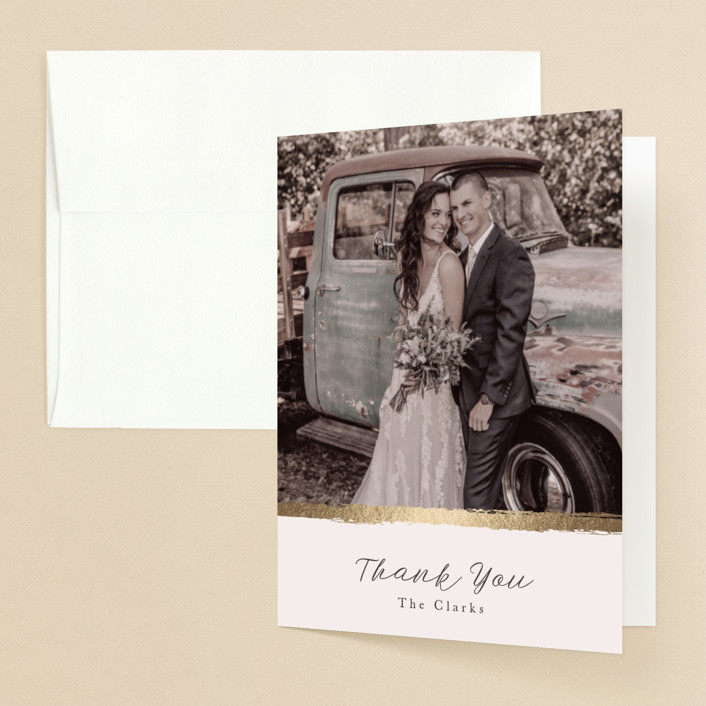"""""""Brushstroke"""" - Foil-pressed Folded Thank You Card in Blush by Tatiana Nogueiras."""