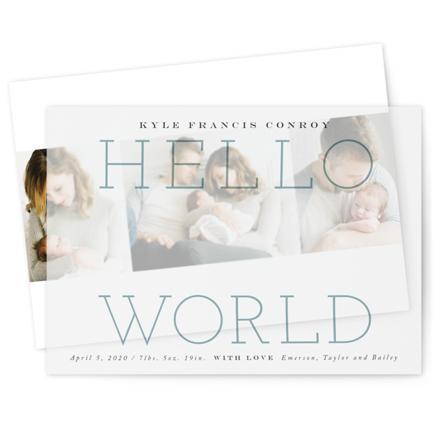 This is a blue vellum overlay birth announcement by Carrie ONeal called Morning + Night with standard printing on translucent vellum in overlay.