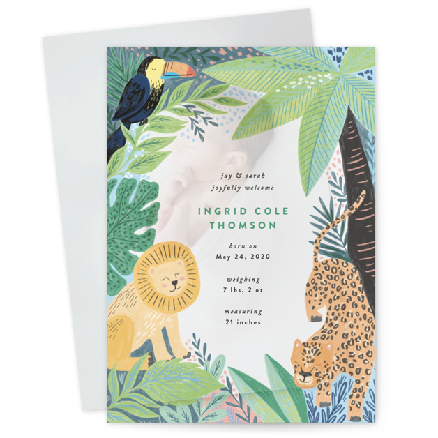 This is a green vellum overlay birth announcement by Alethea and Ruth called Jungle Animal Sketchbook with standard printing on translucent vellum in overlay.