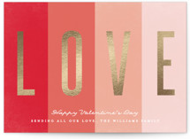 This is a red foil stamped valentine card by Karidy Walker called Striped Love with foil-pressed printing on signature in standard.
