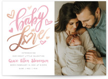 This is a pink foil stamped valentine card by Gina Grittner called Baby Love Valentine with foil-pressed printing on smooth signature in standard.
