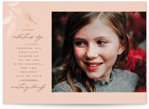 This is a pink foil stamped valentine card by Wildfield Paper Co called Golden Leaves with foil-pressed printing on signature in standard.