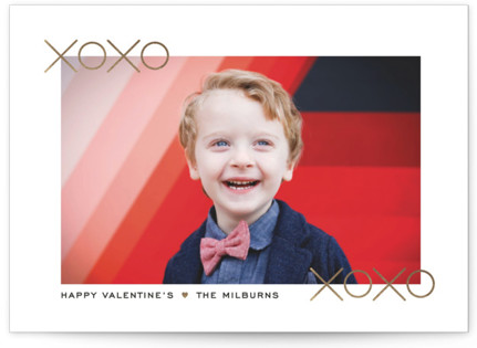 Clean Modern XOXO Foil-Pressed Valentine's Day Cards