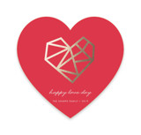This is a red foil stamped valentine card by Ana Sharpe called Geo Heart with foil-pressed printing on signature in standard.