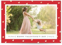 This is a red foil stamped valentine card by Stacey Meacham called Frame of hearts with foil-pressed printing on smooth signature in standard.