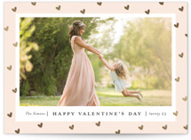 This is a pink foil stamped valentine card by Stacey Meacham called Frame of hearts with foil-pressed printing on smooth signature in standard.