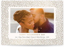This is a white foil stamped valentine card by Oma N. Ramkhelawan called Speckled Love with foil-pressed printing on smooth signature in standard.