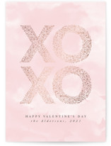 This is a pink foil stamped valentine card by Anastasia Makarova called big floral xoxo with foil-pressed printing on signature in standard.