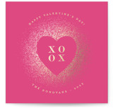 This is a pink foil stamped valentine card by Ana Sharpe called Spreading Our Love with foil-pressed printing on signature in standard.