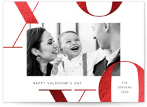 This is a black foil stamped valentine card by Paula Pecevich called X's and O's with foil-pressed printing on smooth signature in standard.