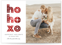 This is a white foil stamped valentine card by Erica Krystek called HO, HO, XO with foil-pressed printing on smooth signature in standard.