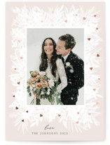 This is a beige foil stamped valentine card by Yaling Hou Suzuki called White Garden with foil-pressed printing on signature in standard.