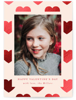 This is a orange foil stamped valentine card by AK Graphics called Polka Hearts with foil-pressed printing on signature in standard.