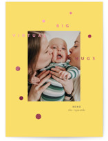 This is a yellow foil stamped valentine card by Haley Warner called Big Virtual Hug with foil-pressed printing on signature in standard.