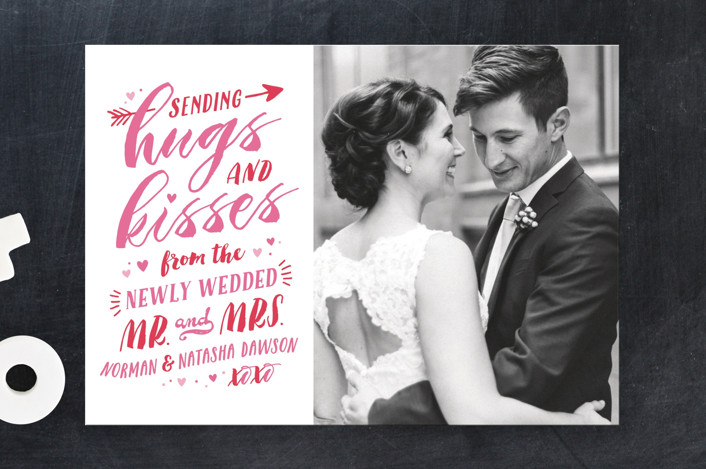 """""""Newlywed Hugs and Kisses"""" - Valentine's Day Cards in Petal by Hooray Creative."""