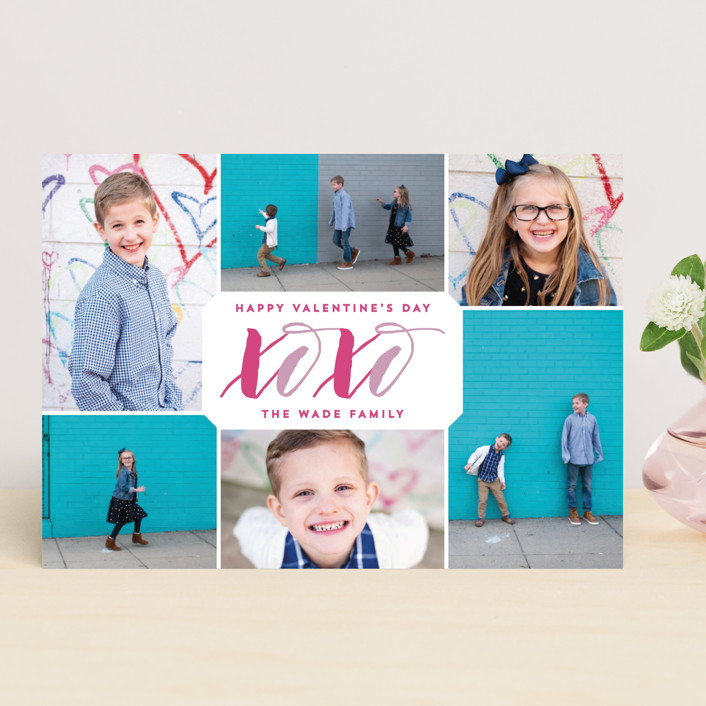 """""""XOXO Collage"""" - Valentine's Day Cards in Lilac by Hooray Creative."""