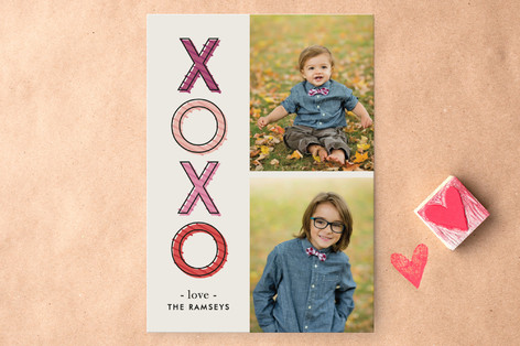 Dashed XOXO Valentine's Day Cards