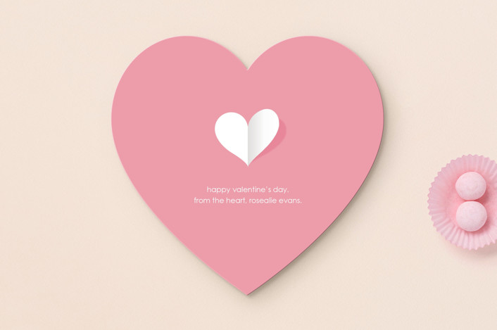 """""""paper heart"""" - Valentine's Day Cards in Rose by Lauren Rami."""