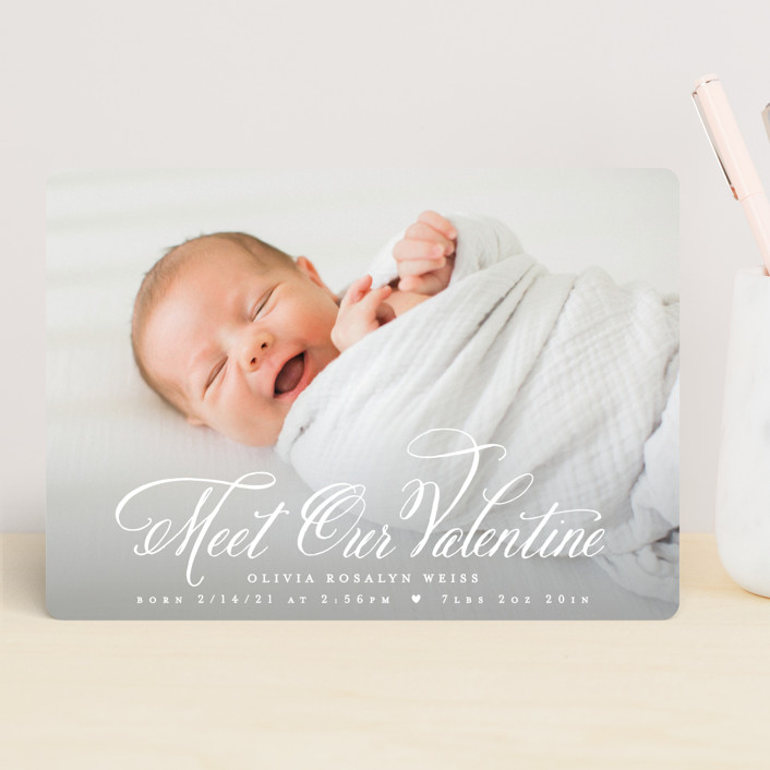 """""""Meet Our Valentine"""" - Valentine's Day Cards in Coral by Hooray Creative."""