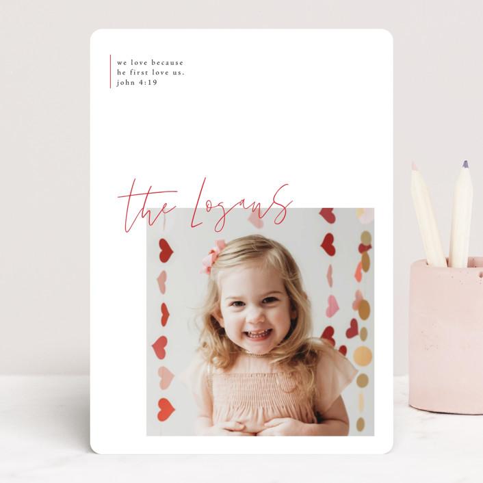 """modern sentimental"" - Preppy Valentine's Day Cards in Engine Red by Design Lotus."
