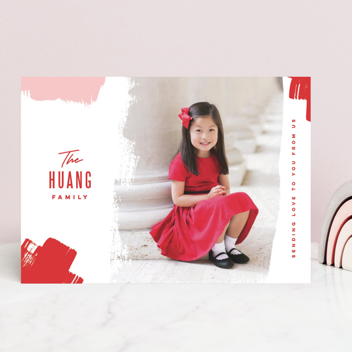 """Bold Brushstrokes"" - Valentine's Day Cards in Festive by Oscar & Emma."