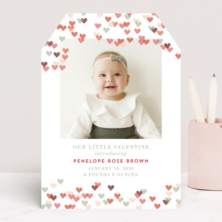 """""""Heart Confetti"""" - Whimsical & Funny Valentine's Day Cards in Pinkberry by Kanika Mathur."""
