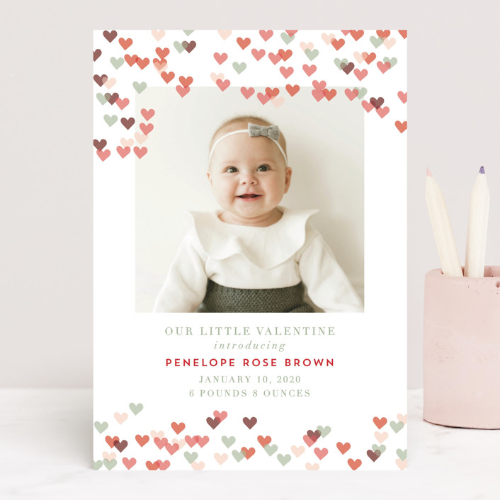 """""""Heart Confetti"""" - Valentine's Day Cards in Pinkberry by Kanika Mathur."""