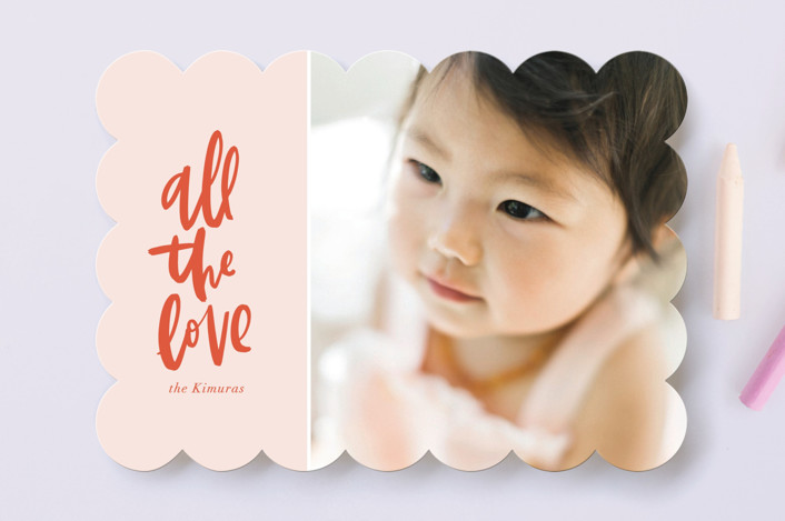 """""""All the Love"""" - Preppy Valentine's Day Cards in Blush by Vine and Thistle."""