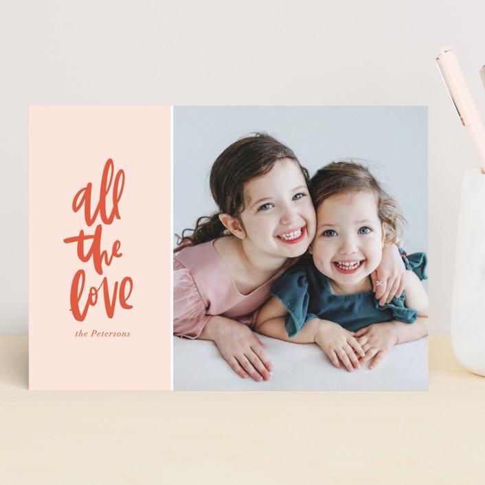 """""""All the Love"""" - Preppy Valentine's Day Cards in Blush by Alicia Schultz."""