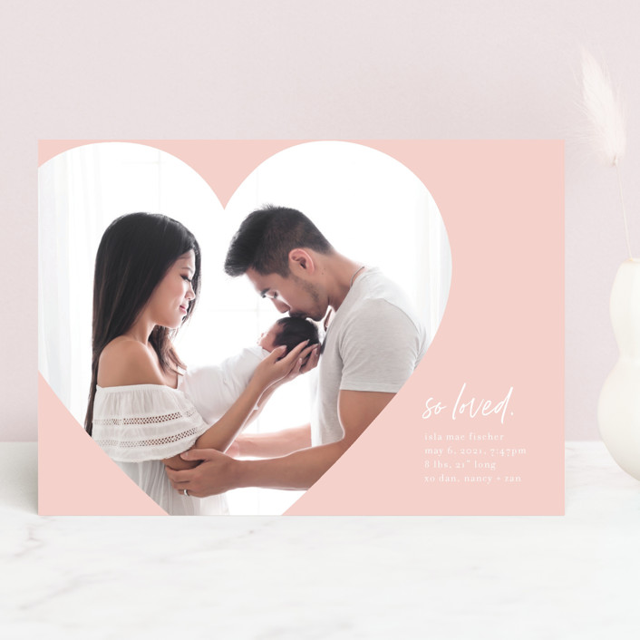 """""""Simply Loved"""" - Valentine's Day Cards in Pearl by Baumbirdy."""