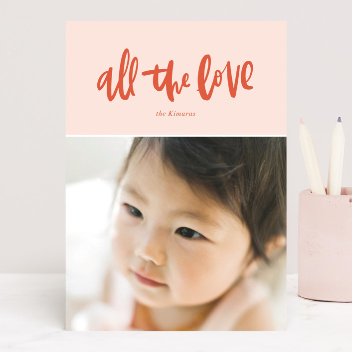 """All the Love"" - Preppy Valentine's Day Cards in Blush by Vine and Thistle."