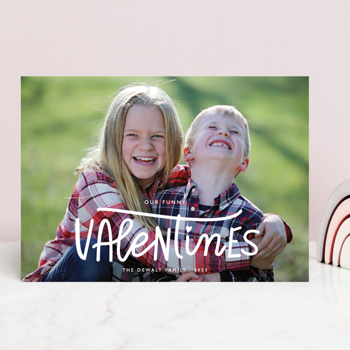 """Our Funny Valentine"" - Funny Valentine's Day Cards in Crimson by Bethany Anderson."